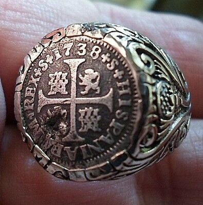 Genuine 1738 1/2 Reales Silver Spanish Treasure Coin Cob Sterling Ring sz 9