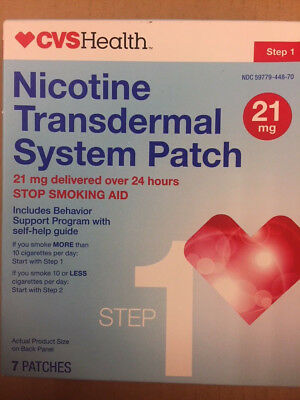 CVS Nicotine Transdermal Patch Step 1 21mg 7 Patches EXP Mar 2018 stop smoking
