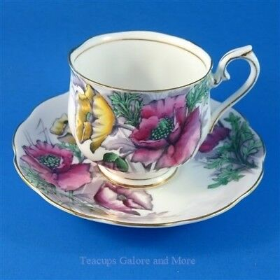 Royal Albert Painted Flower of The Month Poppy #8 Tea Cup and Saucer