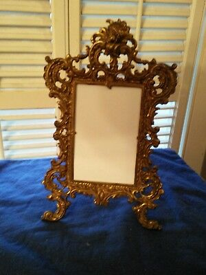 Antique Victorian Ornate Brass Iron Picture Frame Great Patina