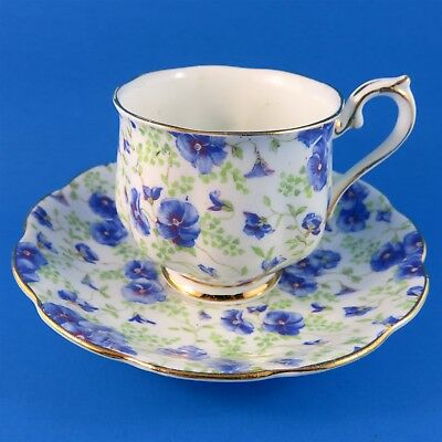 Blue Pansy Chintz Royal Albert Tea Cup and Saucer Set