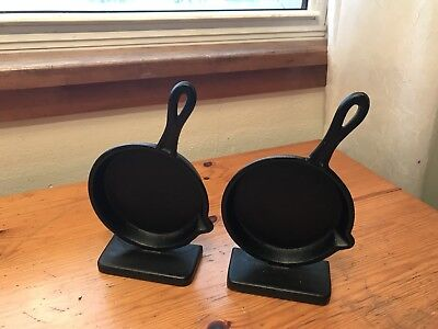 Vintage Cast Iron Skillet Frying Pan Black Bookends Chef Cook Gift