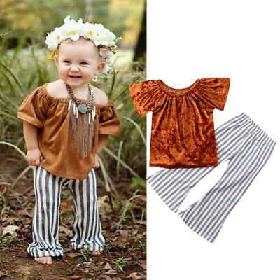 USA Kids Baby Girls Ruffled Sleeve Tops T shirt  Bell Bottoms Pants Outfits Set