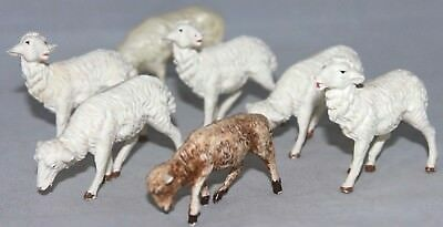 "VINTAGE Set of 7 Hard Plastic Nativity Sheep ITALY+, 2 1/4"" White Brown DETAILED"