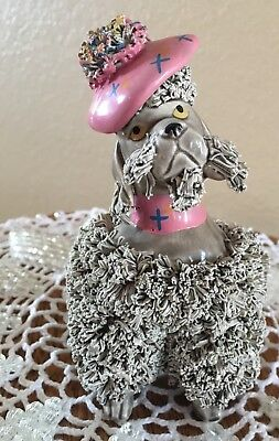 Vintage spaghetti poodle. Pretty Gray Lady wearing a Pink Beret 5x5 inches Japan