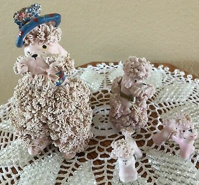 Vintage Pink spaghetti poodle FAMILY. Dad, Mom, and Pups. Dad Wearing Beret/Tam