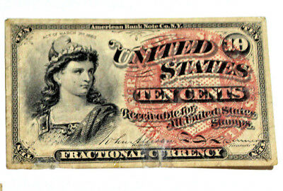 1863 10 Cent  Fractional Currency Note 4th Issue  Crisp VERY FINE 10C TEAR TAPE