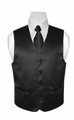 BOY'S Dress Vest & NeckTie Solid BLACK Color Neck Tie Set for Suit / Tux size 14