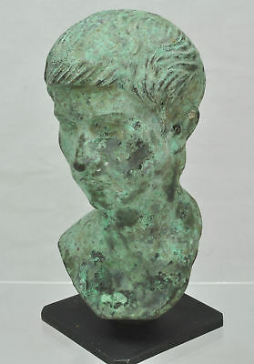 Patinated Roman Bust of a Youth After the Antique 20th Century