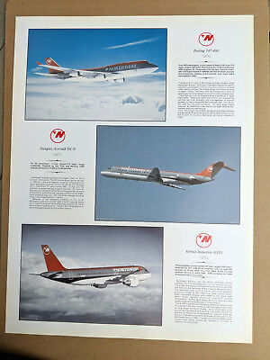 NORTHWEST AIRLINES - POSTER 24x18 / BOEING 747-400 / DOUGLAS DC-9 / AIRBUS A320