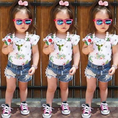 USA Toddler Kids Baby Girls Floral Tops T-shirt Denim Pants Shorts Outfits Set