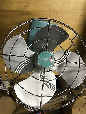 Vintage Dominion Cage Fan Industrial Art Deco Made In Usa Teal Color