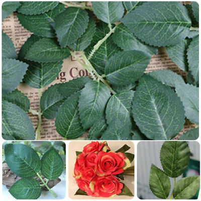 20 Springs 150 Rose Leaves Artificial Silk Green Leaf Wedding Craft Buttonhole