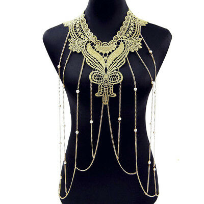 Women Gothic Gold Collar Choker Tassel Necklace Lace Flower Body Chain Nice Gift