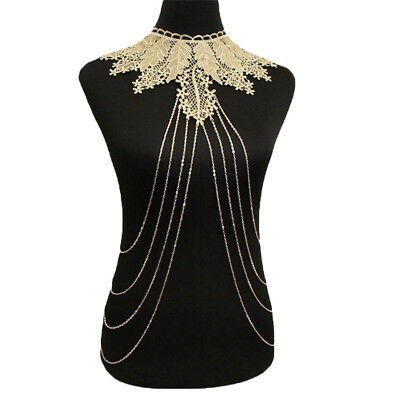 Women Fashion Jewelry Multilayer Tassel Lace Leaf Body Chain Statement Necklace