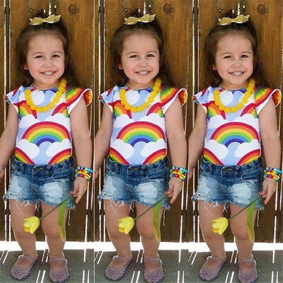 AU Toddler Kids Baby Girls Rainbow Cotton Tops T-shirt Denim Pants Jeans Outfits