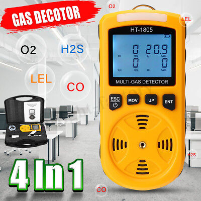 4 in 1 Portable Gas Tester Detector Poisonous O2 CO H2S LEL Gas Density Monitor