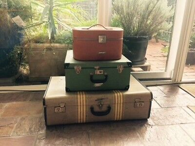 set of 3x vintage 1950-60 authentic suitcases Fabricated in Melbourne/Victoria