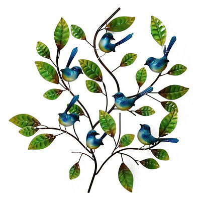 Blue Wren Tree Metal Wall Art Blue Wrens Garden Sculpture Hanging Bird Art 73cm