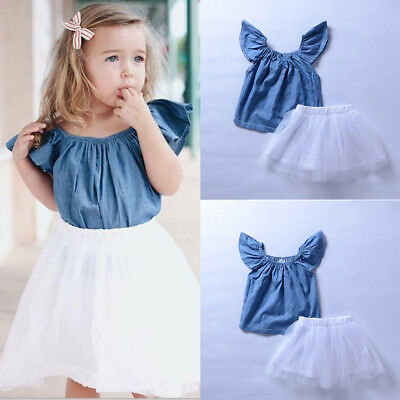 2PCS Toddler Kids Baby Girls Clothes T-shirt Tops+Fairy Skirts Dress Outfits Set