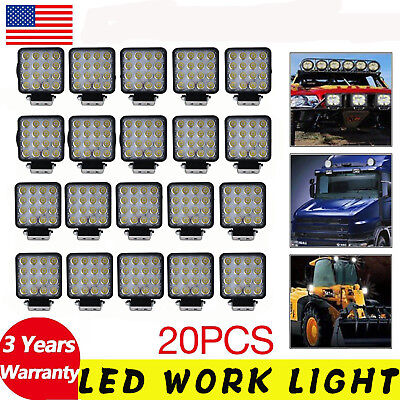 20PCS 48W Square Spot LED Work Light Off-road Driving Lamp UTE Jeep Truck Boat