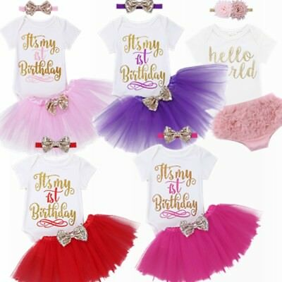 3PCS Infant Baby Girls Birthday Outfit Clothes Child Romper Party Tutu Skit Set