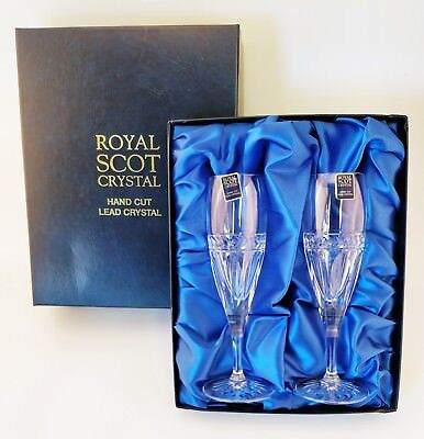 Royal Scot Crystal- Hand Cut Lead CrystalChampagne Flutes (Pair) - Boxed