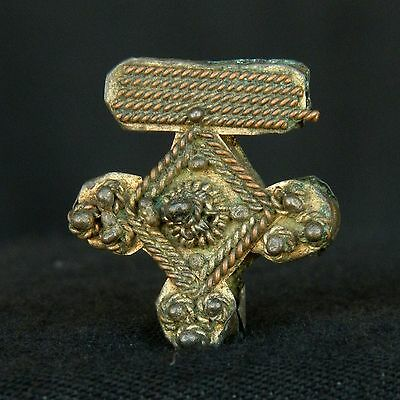 Ancient Moorish BRASS / COPPER Cross - 23 mm LONG - 1900s - SAHARA