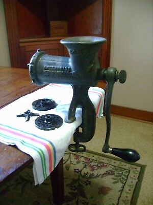 Big Enterprise No #10 Cast Iron Meat Chopper Grinder With 3 Screens & 2 blades