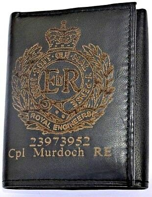 Royal Engineers Uk Army Personalised Genuine Leather Wallet With Any Name & No.