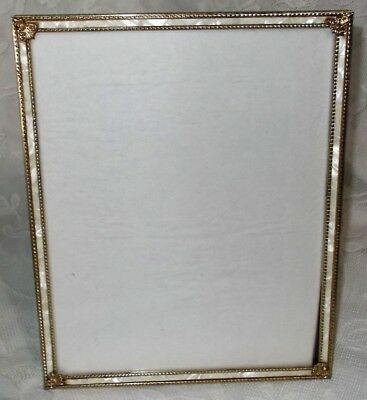 Vintage 8X10 Faux Mother Of Pearl & Gold Tone Metal Picture Frame