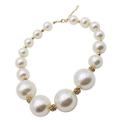 Luxury Gold Plated Rhinestone Faux Pearl Necklace Jewelry for Wedding Bridal