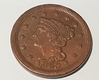 1853 Braided Hair , Large Cent,  US Penny - No Reserve - starting at $0.01