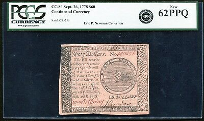 Cc-86 September 26, 1778 $60 Continental Currency Pcgs Uncirculated-62Ppq