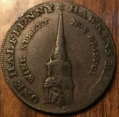 1793 Bristol Hawkins Bird India Tea Warehouse Halfpenny Token