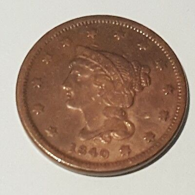 1840 Braided Hair , Large Cent,  US Penny - No Reserve - starting at $0.01