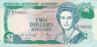 Bermuda 1997 2 Dollar Circulated World Bank Note
