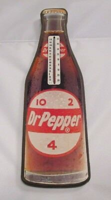 Dr Pepper Wood Thermometer With Decal Face Of Bottle