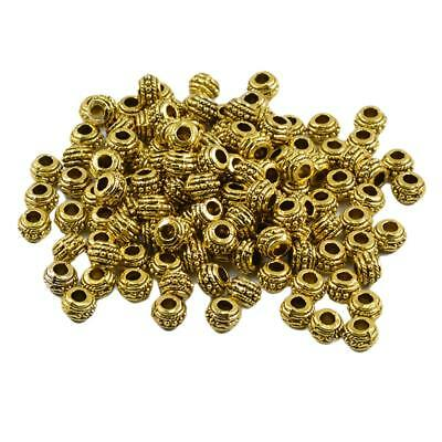 100pcs Gold 7mm Round Rondelle Spacer Loose Beads Jewelry Making Findings