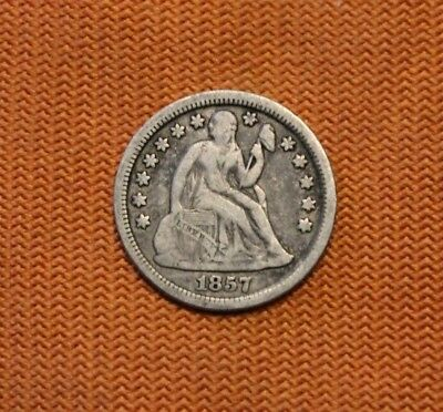 1857 Seated Liberty Silver Dime, 10C, No Reserve