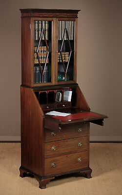 Antique Edwardian Inlaid Mahogany Bureau Bookcase c.1910.