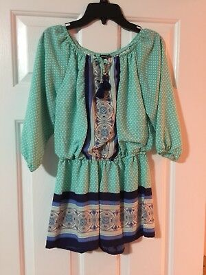 My Michelle Girls Romper Tuquoise Blue Navy 3/4 Sleeve Large L 10 12 Euc