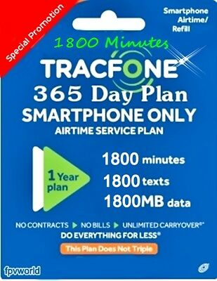 Tracfone Smartphone Only Plan - 1 Year 365 Days Service 1800 Minutes/ text/ data