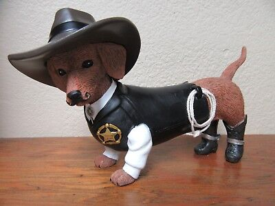 Sher ruff S Paws Dachshund Dog Figurine Hamilton Collection Spurs N Furs Doxie