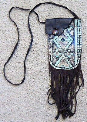 Leather Pouch, Embossed Leather, Cherokee Made, Fringed Pouch, Medicine Pouch #7