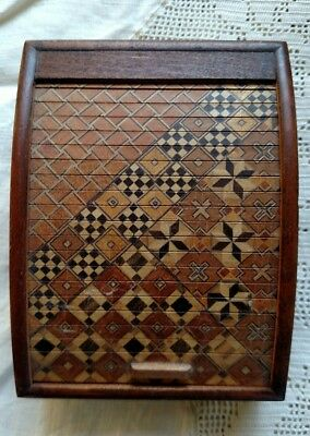 Tiny GORGEOUS Intricately Curved Wooden Marquetry Inlaid Tambour Door Box, Japan