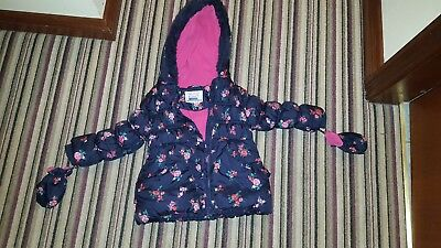 Girls Floral Padded Warm Coat Age 3-4 Years With Detachable Mittens Cath Kidston