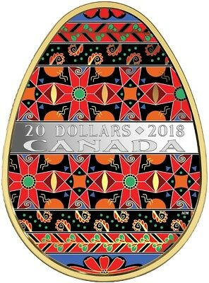 CANADA 2018 $20 Spring Ukrainian Pysanka Egg Shaped  Silver Gold Plated Coin