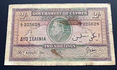 Cyprus 2 Shillings 1941 King George Vi ! Extremely Rare Banknote