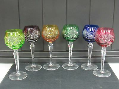 Vintage Crystal Colored Cut To Clear Czech Bohemian Wine Glass Set of 6  2939K